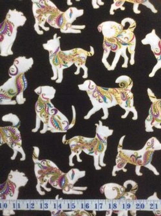 Dog On It Hot Diggity large Black Gold Metallic Highlights Cotton Quilting Fabric 1/2 YARD