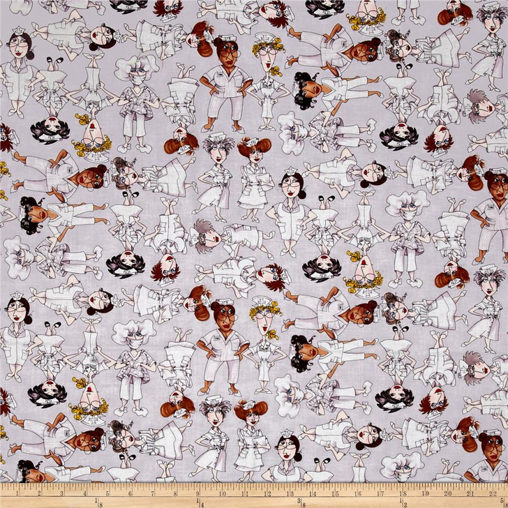 Nifty Nurses Grey tossed by Loralie Cotton Quilting Fabric