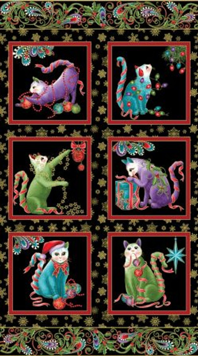 Cat-I-Tude Christmas Paisley Black Metallic Highlights Cotton Quilting Fabric Panel