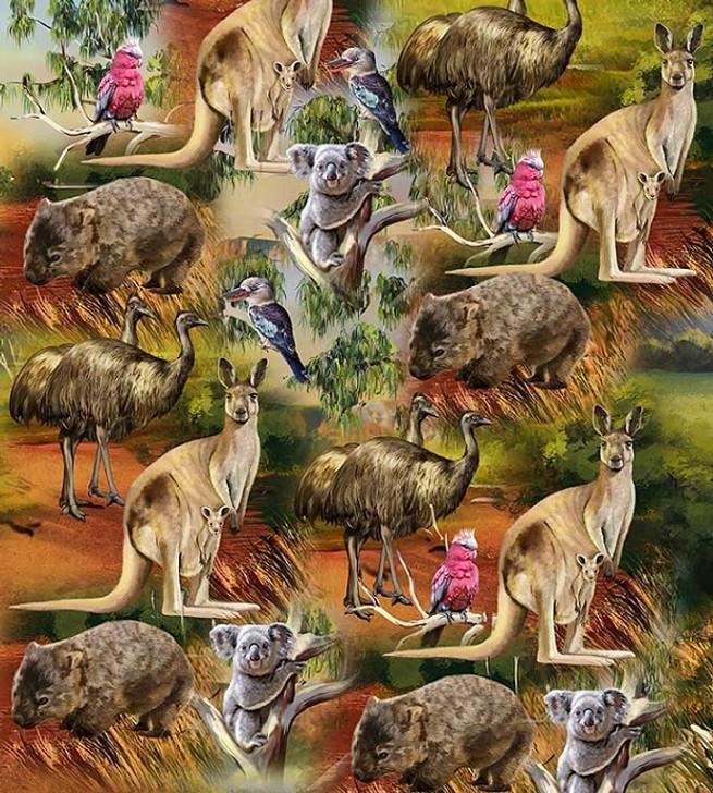 Australian Wildlife Valley Scenic Kangaroo Emu Koala Wombat Cotton Quilting Fabric 1/2 YARD