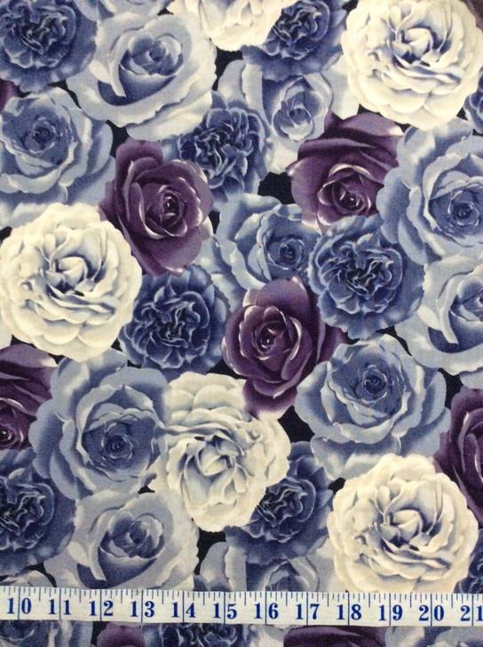 Ruru Bouquet Suzonne Floral Roses Purple Cotton Quilting Fabric 1/2 YARD