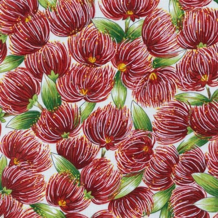 Pohutukawa Cream New Zealand Kiwi Floral Blossom Cotton Quilting Fabric 1/2 YARD