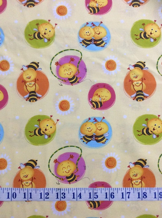 Busy Bees Bees in Circles yellow Cotton Quilting Fabric 1/2 YARD