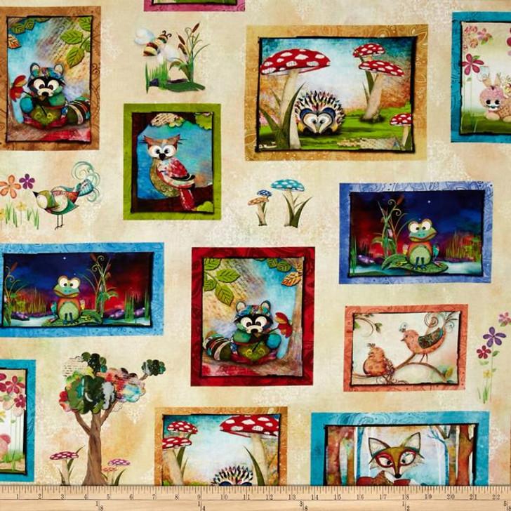 Digital Prints Skylines Tossed Animals Cream Cotton Quilting Fabric 1/2 YARD