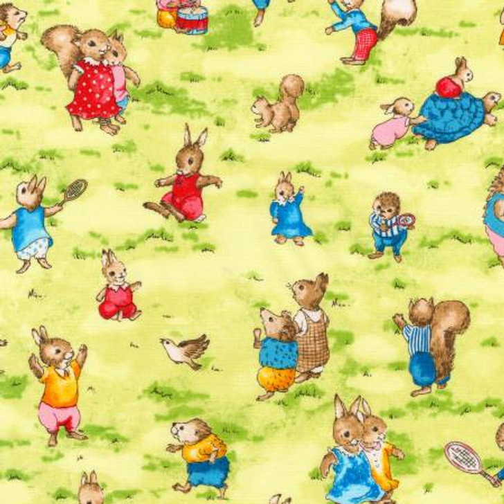 Bunnies Story Book Bright Rabbits Allover Robert Kaufman Cotton Quilting Fabric 1/2 YARD