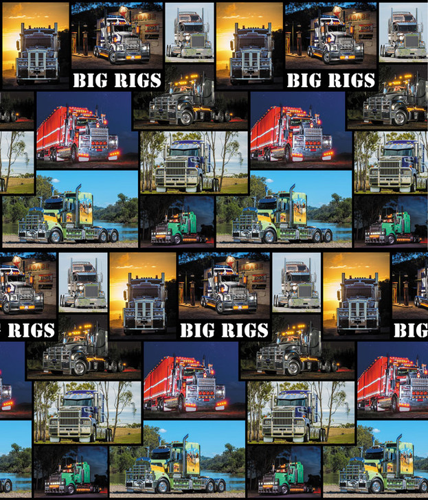 Trucks Big Rigs Trucks Allover Coordinate Cotton Quilting Fabric 1/2 YARD