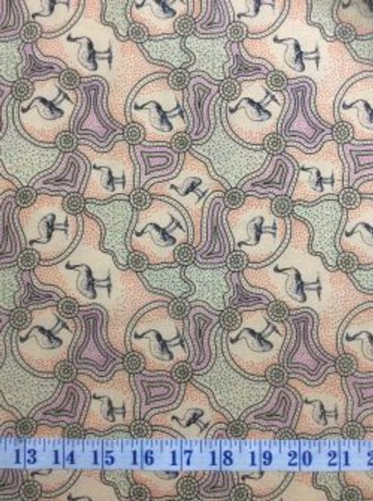 Australian Aboriginal Art Emu Dreaming Ecru Cotton Quilting Fabric 1/2 YARD