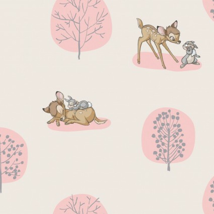 Disney Bambi and Thumper Forest Scene Light Pink Background Cotton Quilting Fabric 1/2 YARD