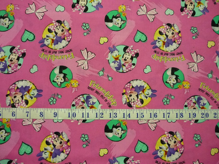 Disney Minnie Mouse and Daisy Badges Friendship Cotton Quilting Fabric 1/2 YARD