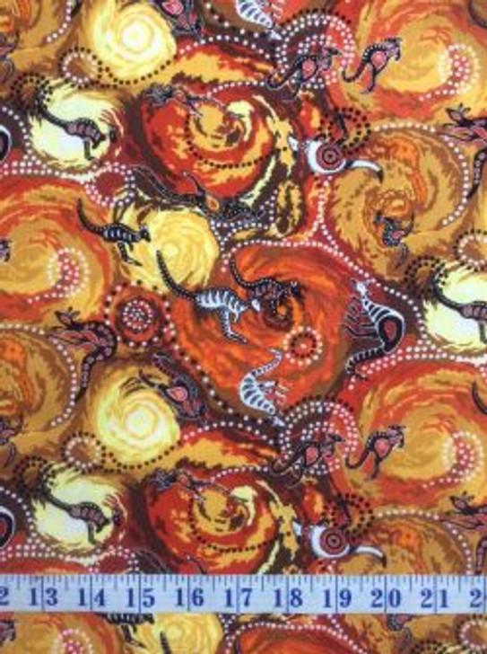 Australian Aboriginal Inspired Dilkara Red Orange Emu Snake Cotton Quilting Fabric 1/2 YARD