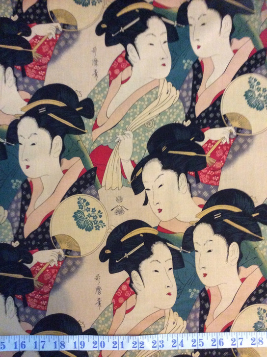 Japanese Geishas Sisters Of The Golden Temple Dark Tea Alexander Henry Cotton Quilting Fabric 1/2 YARD