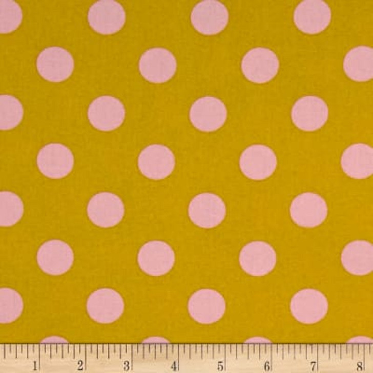 All Stars Pom Poms Marigold Polka Dot Tula Pink Cotton Quilting Fabric 1/2 YARD