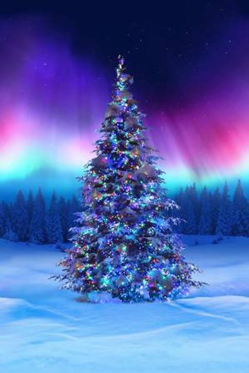 Borealis All Aglow Christmas Tree Digital Print Cotton Quilting Fabric Panel