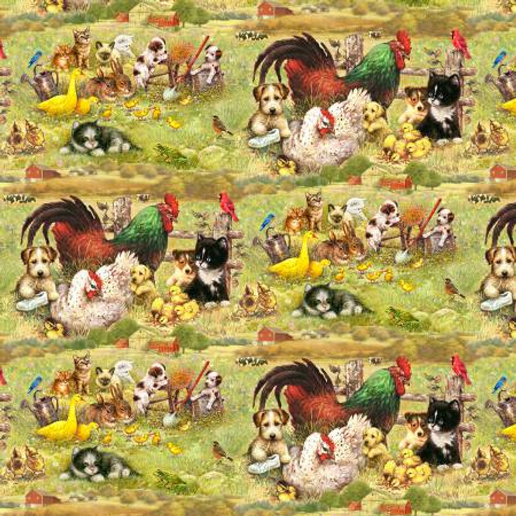 Barnyard Babies Multi Chickens Ducks Cats Dogs Digital Cotton Quilting Fabric 1/2 YARD