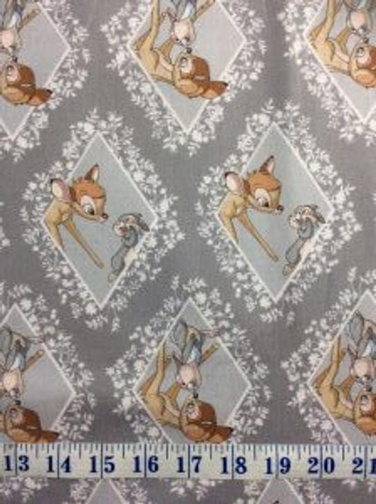 Disney Bambi and Thumper Diamonds Grey Cotton Quilting Fabric 1/2 YARD