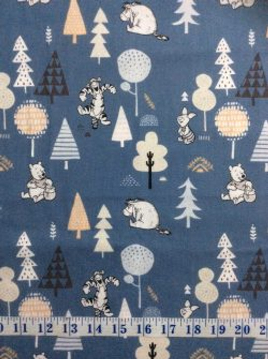 Disney Winnie the Pooh Wonder and Whimsy Forest Friends Blue Cotton Quilting Fabric 1/2 YARD