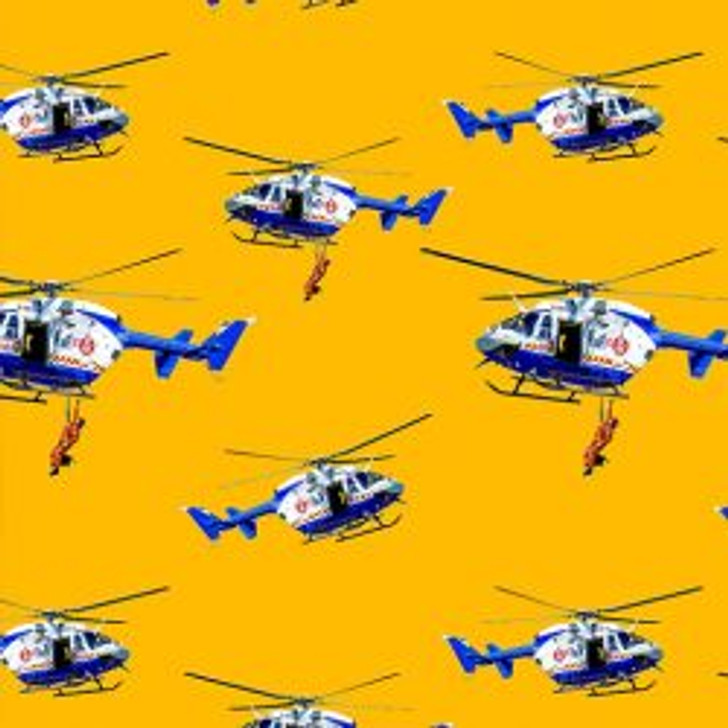 Honouring Australia's Firemen Wildfire Heroes 0109/H Fire Chopper Cotton Quilting Fabric 1/2 YARD