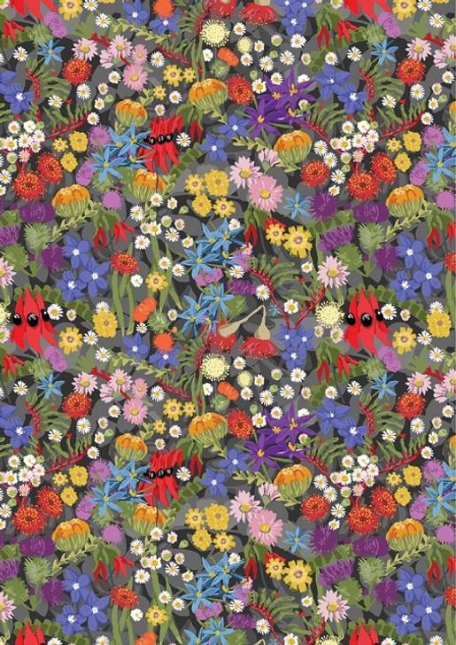 Aussie Flower Garden Winter Bluebells Cupids Dart Waratah Cotton Quilting Fabric 1/2 YARD