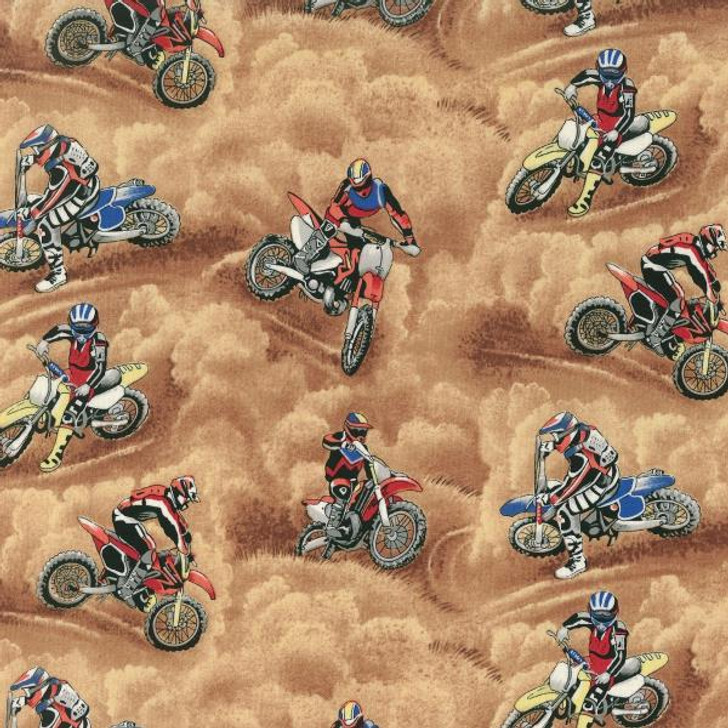 Motorcross Dirt Motorbike Brown Background Cotton Quilting Fabric 1/2 YARD