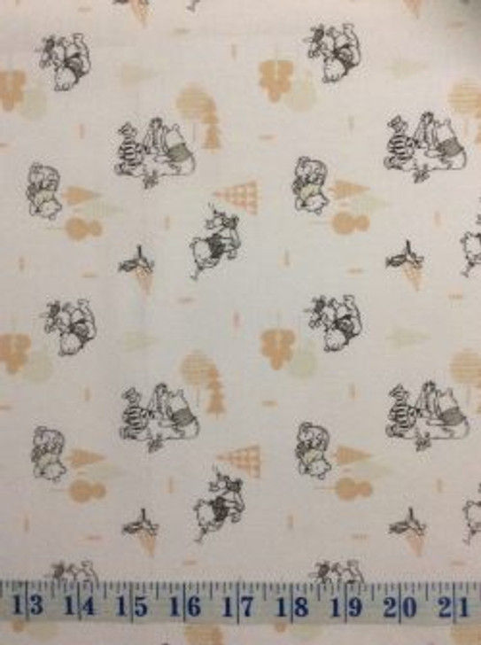 Disney Winnie the Pooh Wonder and Whimsy Forest White Cotton Quilting Fabric 1/2 YARD
