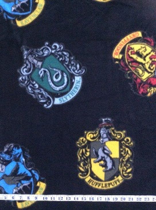 Harry Potter School Crests Black Background FLEECE Fabric 1 YARD