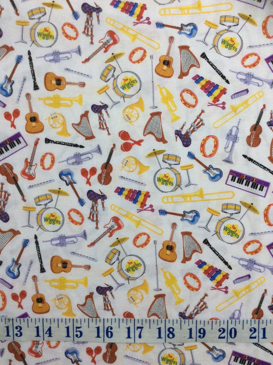 The Wiggles Ready Steady Wiggle Instruments White Cotton Quilting Fabric 1/2 YARD