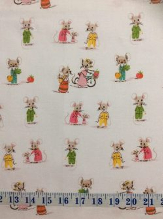 Country and City Mouse Trixie and Thomas White Cotton Quilting Fabric 1/2 YARD
