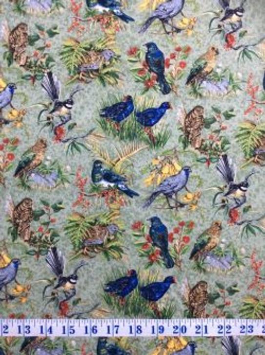 Chatter Birds Kiwi New Zealand Cotton Quilting Fabric 1/2 YARD