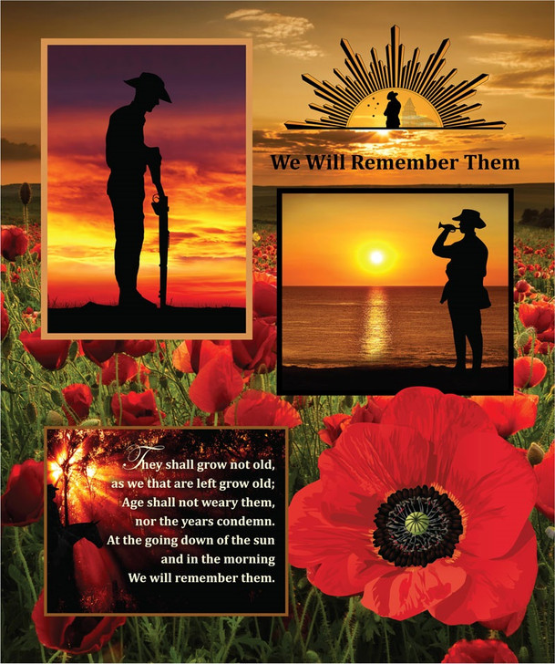 Anzac We Will Remember Them Cotton Quilting Fabric Panel