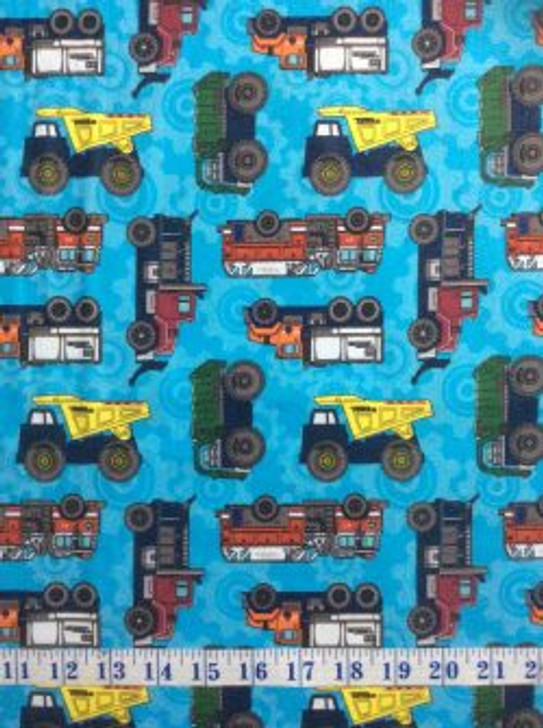 Tonka Trucks Blue Background Cotton Quilting Fabric 1/2 YARD