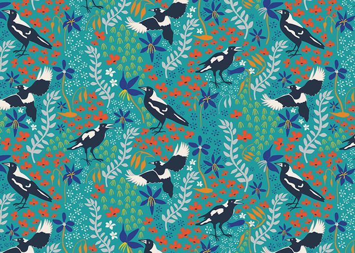 Merry Magpies Aqua Green Australian Birds Taking Flight Cotton Quilting Fabric 1/2 YARD