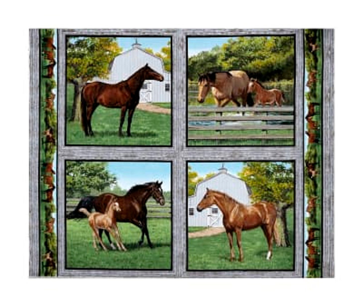 Horse and Foal Wild Wings Summer Breeze Cotton Quilting Fabric Pillow Panel