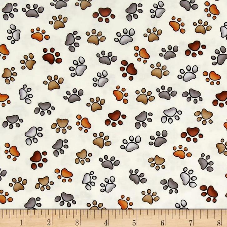 Doggie Dear Delight Paw Prints Bone Cotton Quilting Fabric