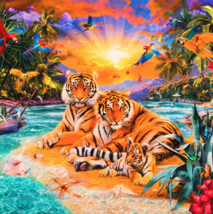 Picture This Wild Tiger Family Scenic Cotton Quilting Fabric Panel