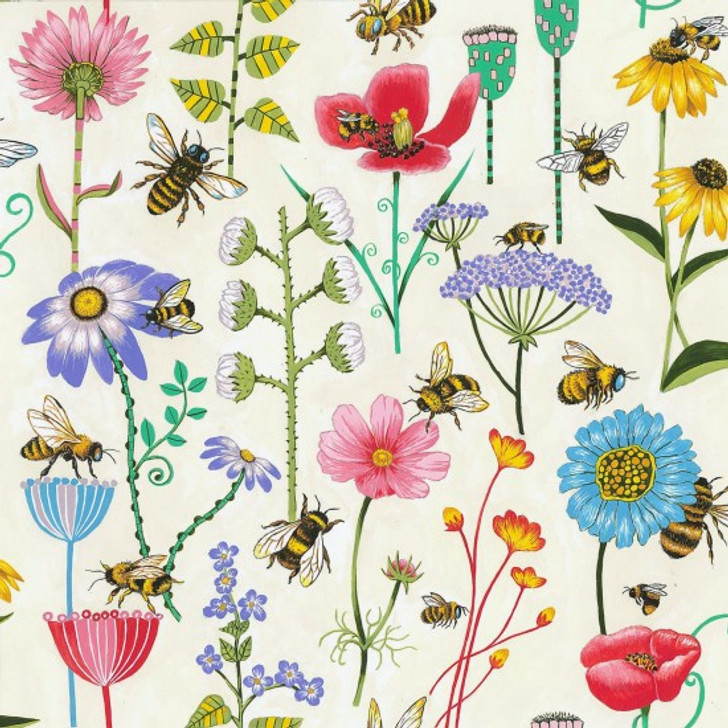 Bee Haven Floral Off White Background Cotton Quilting Fabric 1/2 YARD