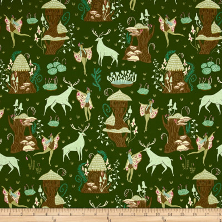 Woodland Nymph Deer and Nymphs Clover Dear Stella Cotton Quilting Fabric 1/2 YARD