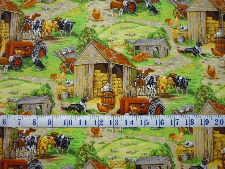 Farm Animals Cows Tractors Chickens Country Scene Cotton Quilting Fabric 1/2 YARD