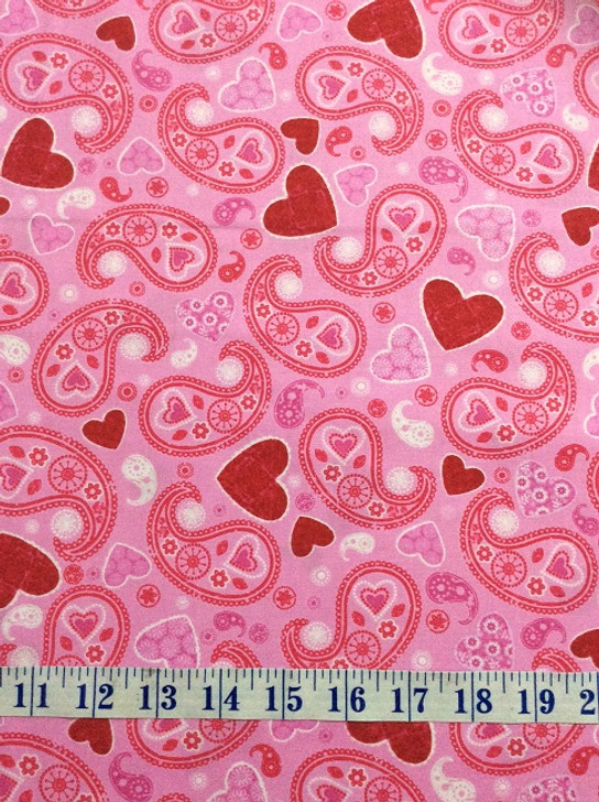 Hearts of Love Paisley Pink Cotton Quilting Fabric 1/2 YARD