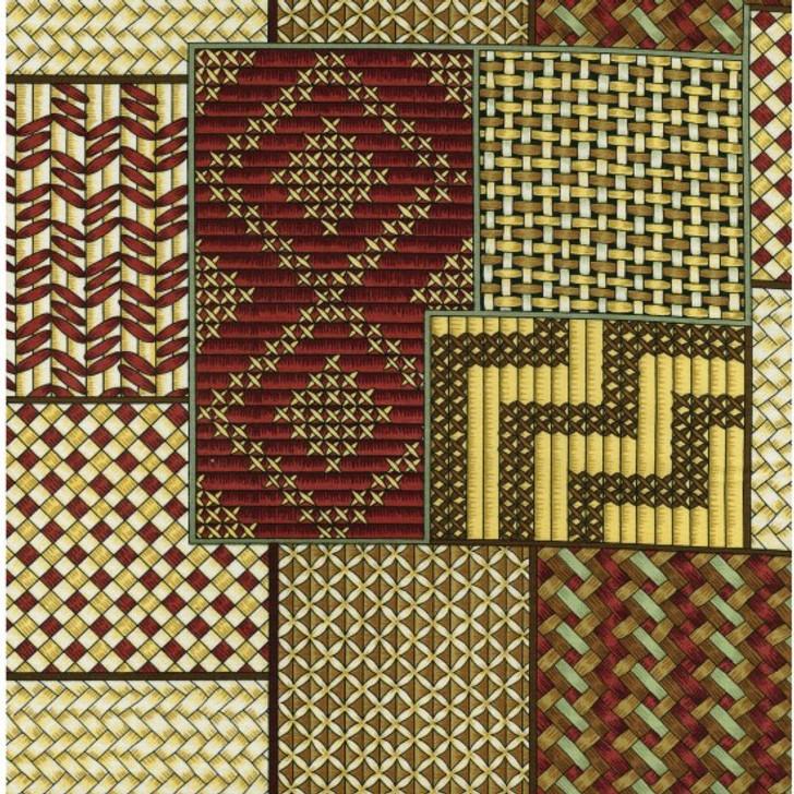 New Zealand Maori Kiwi Kete Traditional Design Cotton Quilting Fabric 1/2 YARD