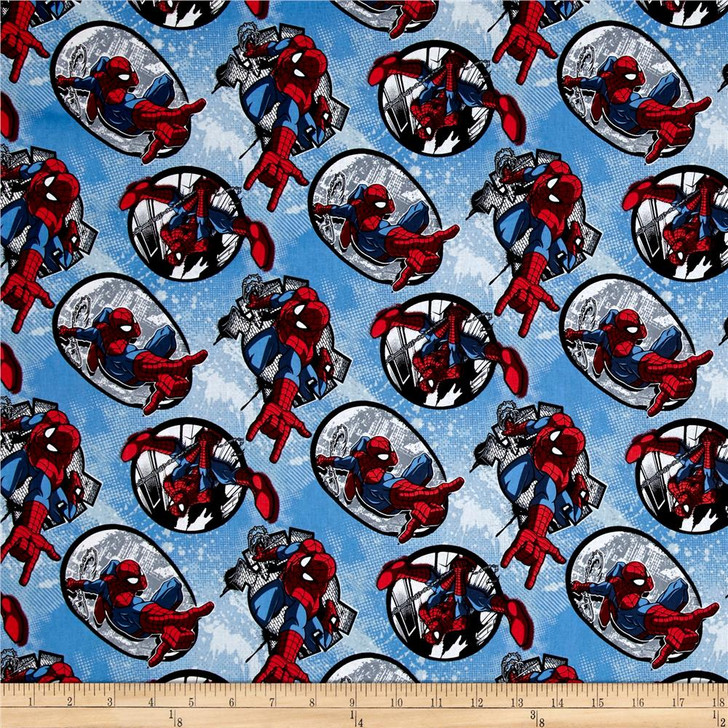 Spiderman Badge Blue Background Cotton Quilting Fabric 1/2 YARD