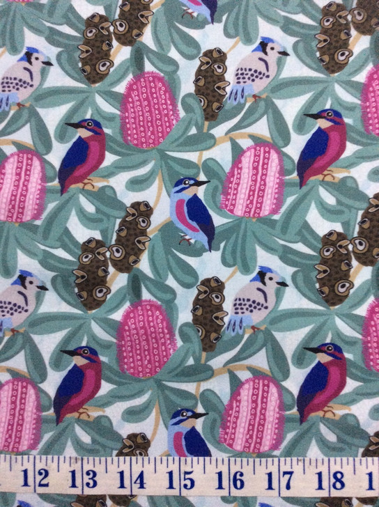 Australian Birds and Banksia Sweet Botanical Cotton Quilting Fabric 1/2 YARD