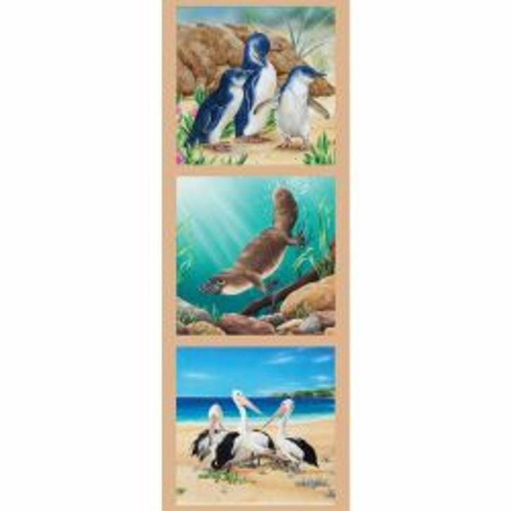 Australian Wildlife Art 2 Penguins Platypus Pelicans Cotton Quilting Fabric Small Panel