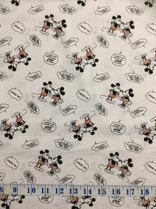 Disney Mickey and Minnie Vintage Nice Is Not The Same As Wimpy Multi Cotton Quilting Fabric 1/2 YARD