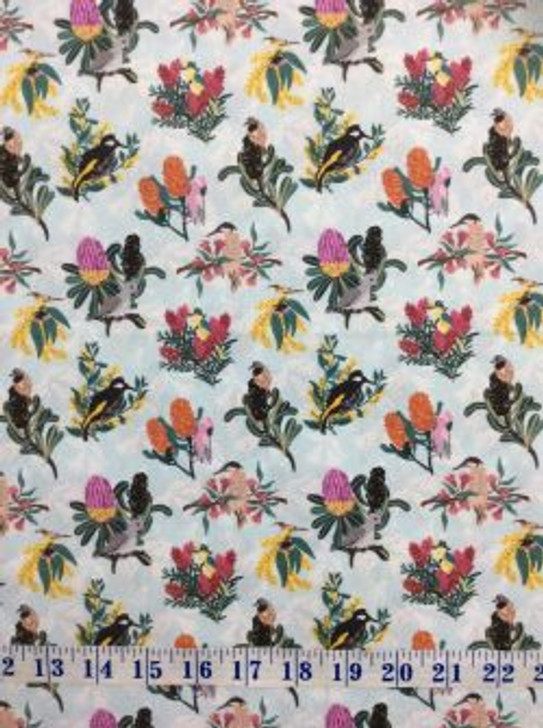 Australian Native Bouquet Birds and Flowers Scenic Cotton Quilting Fabric 1/2 YARD