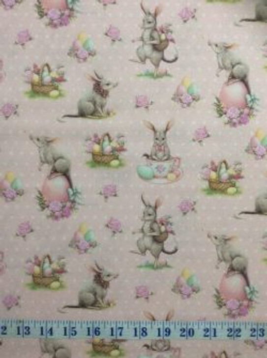Australian Easter Bilby Eggs Flowers Baskets Allover Pink Cotton Quilting Fabric 1/2 YARD