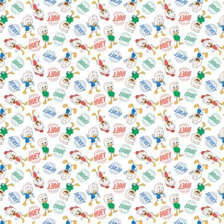 Disney Ducktales Huey Dewey and Louie Cotton Quilting Fabric 1/2 YARD