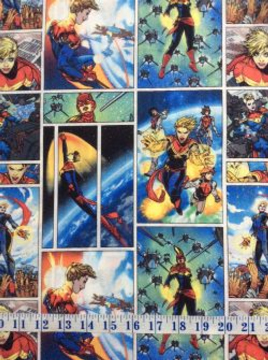 Marvel Superheroes Captain Marvel Patch Cotton Quilting Fabric 1/2 YARD