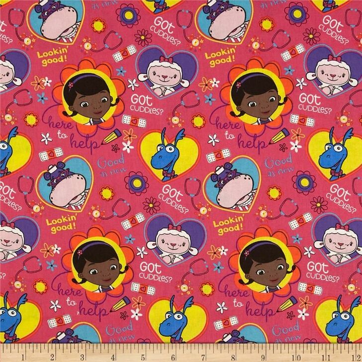 Disney Doc McStuffins Big Book of Boo Boos Toss Pink Cotton Quilting Fabric 1/2 YARD