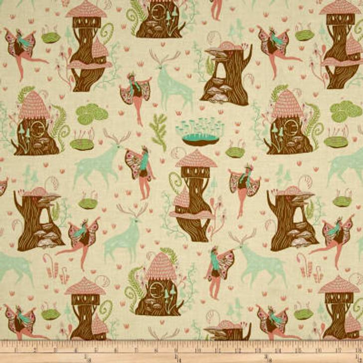 Woodland Nymph Deer and Nymphs Vanilla Dear Stella Cotton Quilting Fabric 1/2 YARD