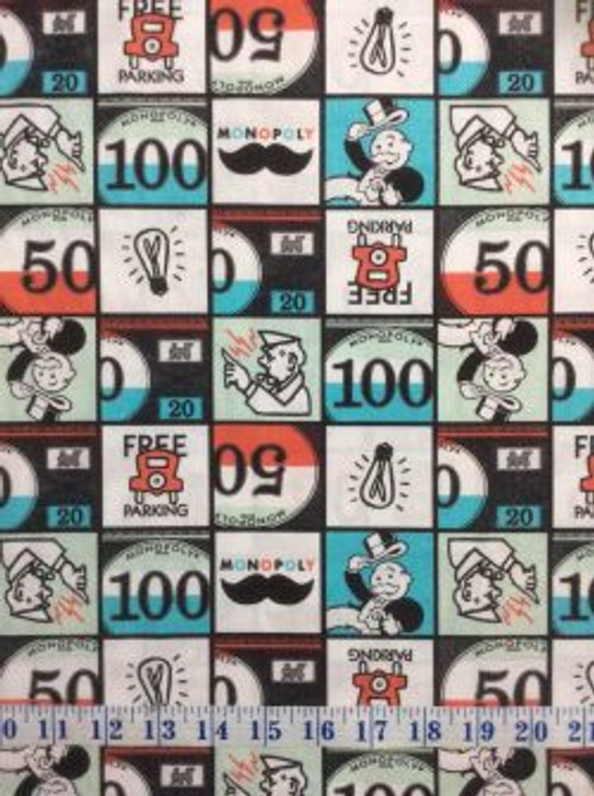 Hasbro Monopoly Squares Multi Cotton Quilting Fabric 1/2 YARD